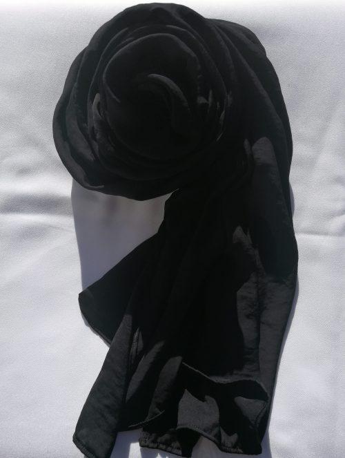 Black Hammered Satin Scarf