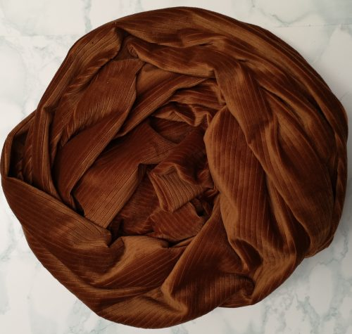 Tan Ribbed Velvet Scarf