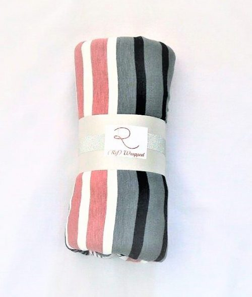 Pink, grey navy stripe pinfree