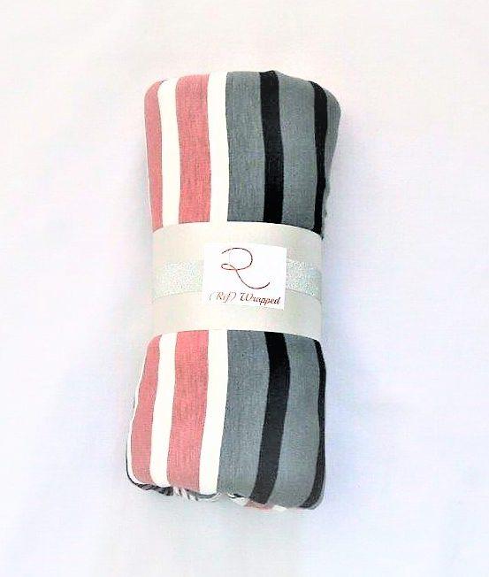 Pink, grey navy stripe pinfree