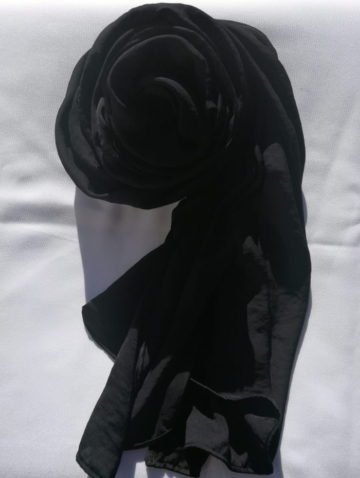 Black Hammered Satin Scarf