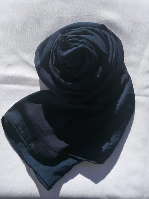 Navy Blue Hammered Satin Scarf